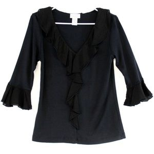 Soft Surroundings Women's Blouse Black Ruffled